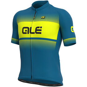 Alé Cycling Solid Blend Maillot Manga Corta Hombre, azure blue/fluo yellow